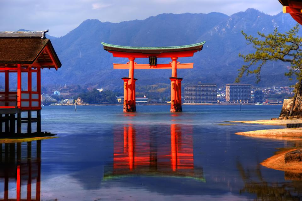 View of famous Torii (gate) of Itsukushima Shrine which stands offshore at Miyajima Island in Hiroshima Prefecture, Japan. (Photo: Getty)