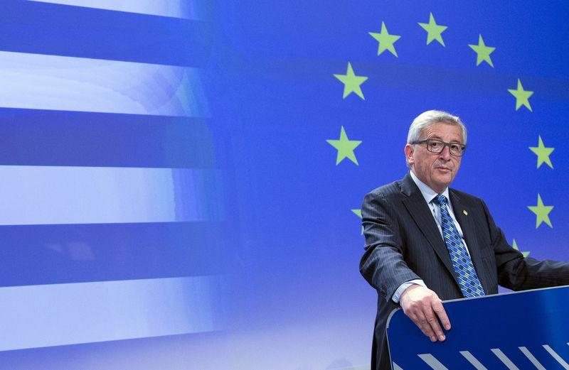European Commission President Jean-Claude Juncker gives a statement on the situation on the situation in Greece at the EU commission headquarters in Brussels
