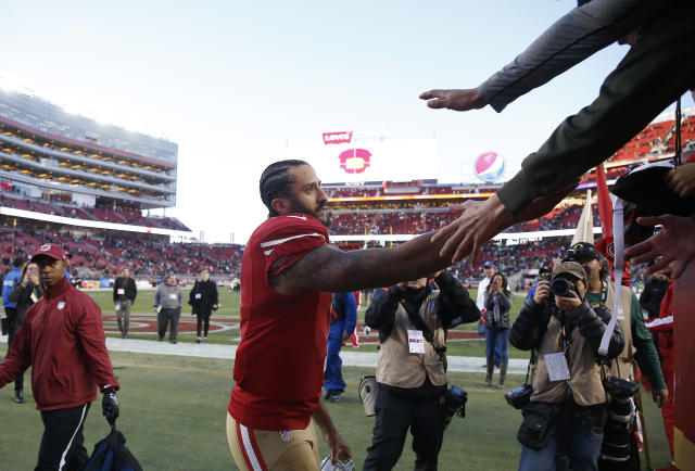 Thanks for the support: In recent days, three elite NFL players have said Colin Kaepernick deserves to be on a roster. (AP)