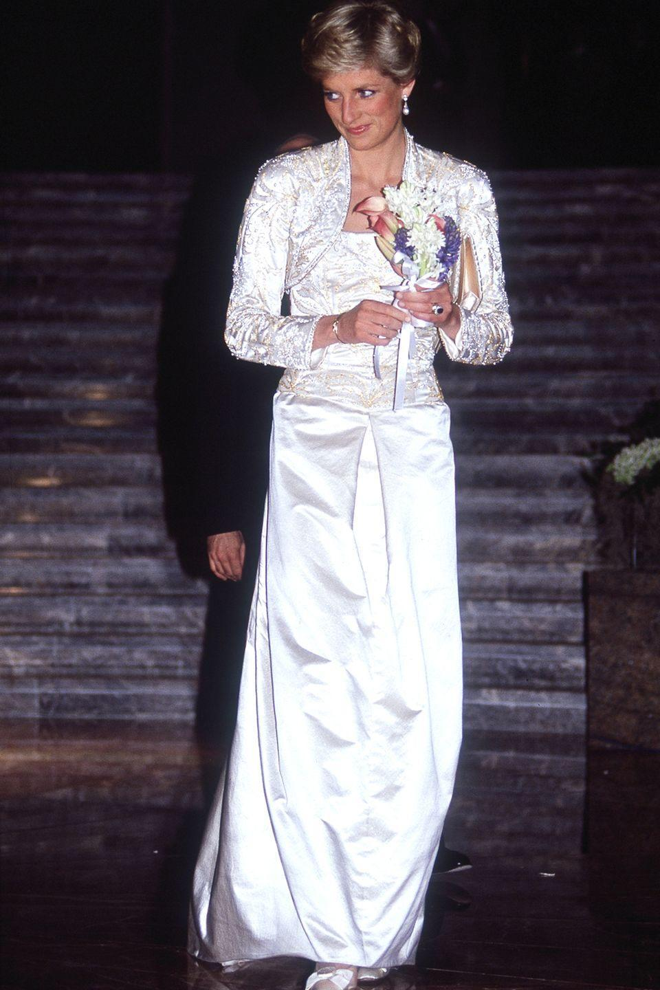 <p>Diana attends a dinner at the Winter Garden in a silky white ensemble. </p>
