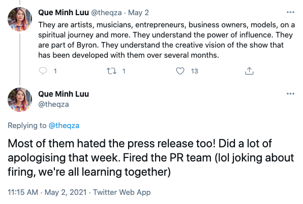Netflix's Director of Originals in Australia, Que Minh Luu took to Twitter to reveal there had been some drama with the cast. Photo: Twitter