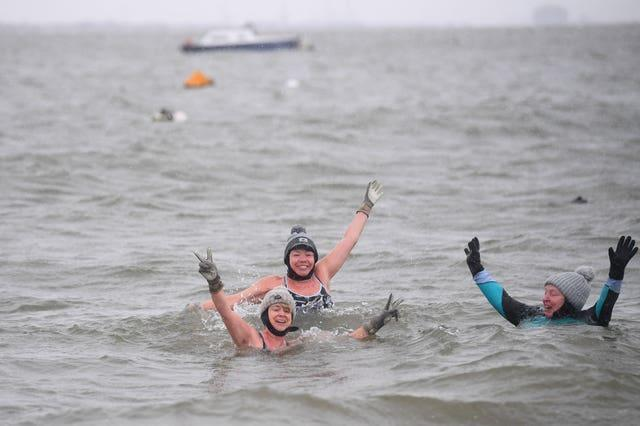 Early morning swimmers enjoy a bracing dip