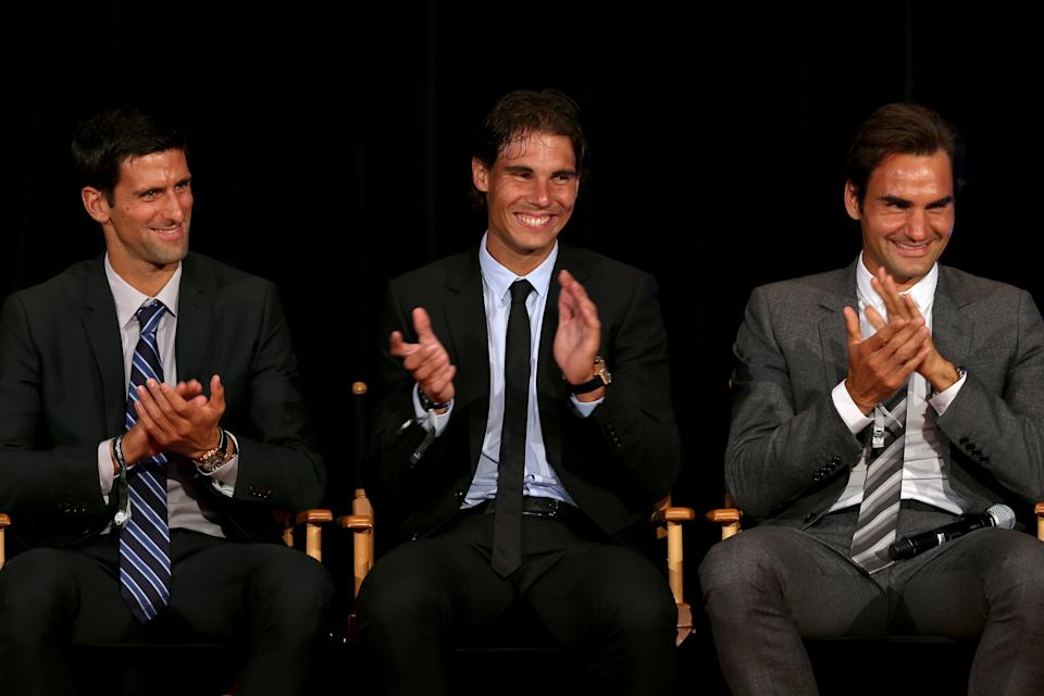 NEW YORK, NY - AUGUST 23:  Novak Djokovic of Serbia; Rafael Nadal of Spain and Roger Federer of Switzerland on stage during the ATP Heritage Celebration at The Waldorf=Astoria on August 23, 2013 in New York City.  (Photo by Matthew Stockman/Getty Images)