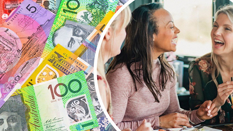 Pictured: Women laughing while eating brunch and Australian cash. Images: Getty