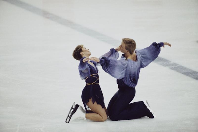 Ice dancers Jayne Torvill and Christopher Dean of Great Britain perform their Bolero routine for the Ice Dance Skating at the XIV Olympic Winter Games on 14 February 1984 Skenderija II Hall, Sarajevo, Yugoslavia. (Photo by Trevor Jones/Getty Images)