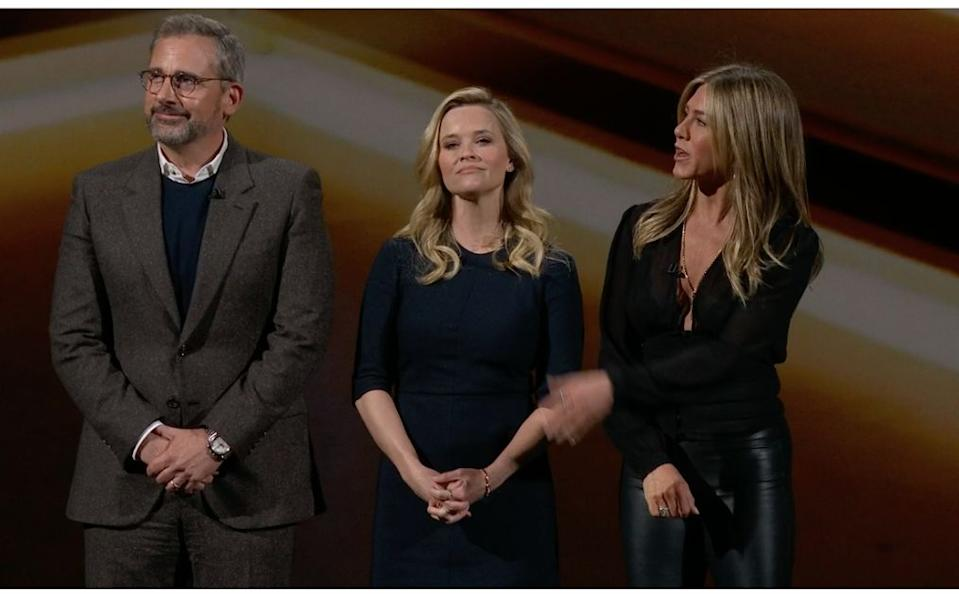 """Steve Carell, Reese Witherspoon and Jennifer Aniston talk about their Apple TV Plus show called """"The Morning Show."""" (image: Apple)"""