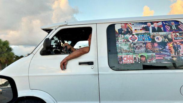 PHOTO: Mail bombing suspect Cesar Sayoc's van is seen in Boca Raton, Fla. on Oct. 18, 2018 in this picture obtained from social media. (Ed Kennedy via Reuters)