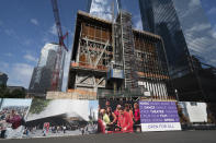 The Ronald O. Perelman Performing Arts Center is under construction, Wednesday, Sept. 8, 2021, at the World Trade Center in New York. After years of delays it is scheduled to open in 2023. (AP Photo/Mark Lennihan)