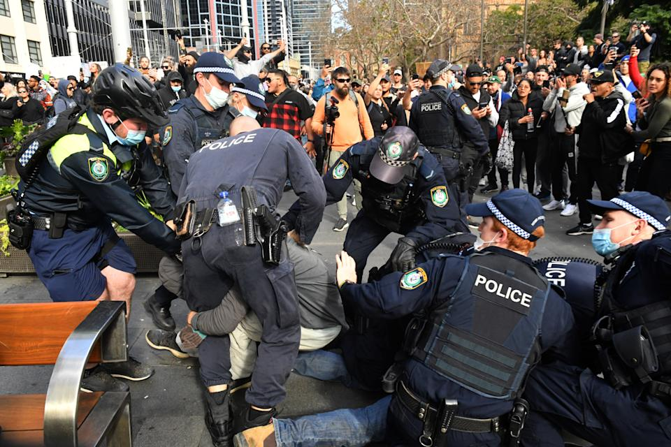 Some 3000 people participated in an anti-lockdown rally in Sydney's CBD, the same day NSW reported 163 new Covid-19 cases. Source: AAP