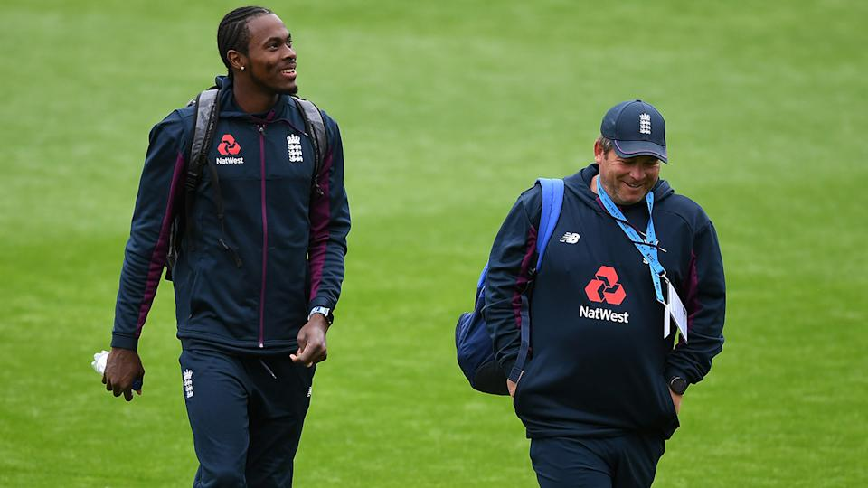 Jofra Archer, pictured here after an England Nets Session at Old Trafford.