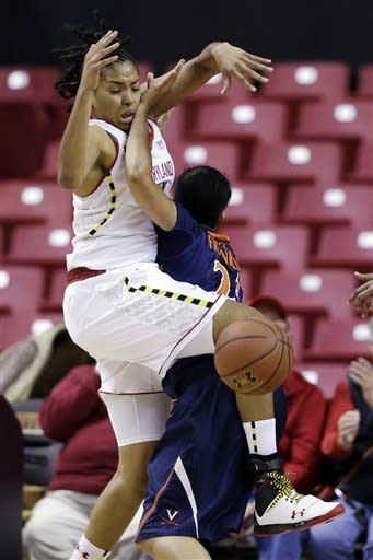 Maryland forward Tianna Hawkins, left, collides with Virginia guard Ataira Franklin as Hawkins goes up for a basket in the first half of an NCAA college basketball game in College Park, Md., Thursday, Dec. 6, 2012. (AP Photo/Patrick Semansky)