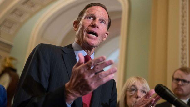 PHOTO: Sen. Richard Blumenthal speaks with reporters about Supreme Court nominee Brett Kavanaugh following a Democratic weekly policy meeting, at the Capitol in Washington, Sept. 18, 2018. (J. Scott Applewhite/AP, FILE)