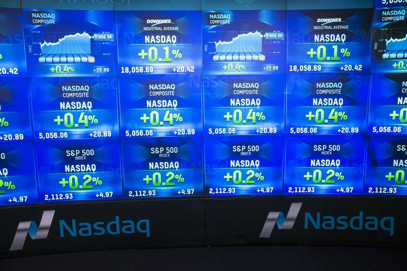 An electronic board shows the closing numbers for the Nasdaq Composite Index at the Nasdaq in New York