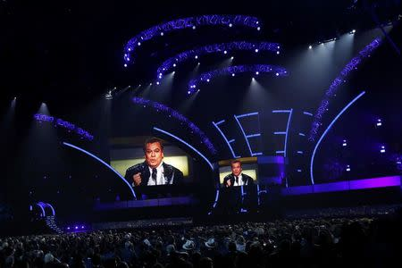 "An image of Juan Gabriel,  who won album of the year for ""Los Duo 2,"" is shown on screen at the 17th Annual Latin Grammy Awards in Las Vegas, Nevada, U.S., November 17, 2016.   REUTERS/Mario Anzuoni"
