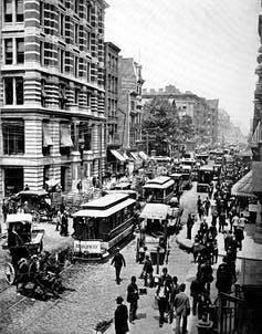 "<span class=""caption"">Bustling Broadway in the late 19th century.</span> <span class=""attribution""><a class=""link rapid-noclick-resp"" href=""https://www.gettyimages.com/detail/news-photo/united-states-of-america-broadway-in-new-york-street-scene-news-photo/985679260?adppopup=true"" rel=""nofollow noopener"" target=""_blank"" data-ylk=""slk:Bildagentur-online/Universal Images Group via Getty Images"">Bildagentur-online/Universal Images Group via Getty Images</a></span>"