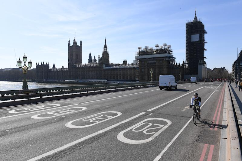 A near empty Westminster Bridge and the Houses of Parliament in Westminster, London, the day after Prime Minister Boris Johnson put the UK in lockdown to help curb the spread of the coronavirus.