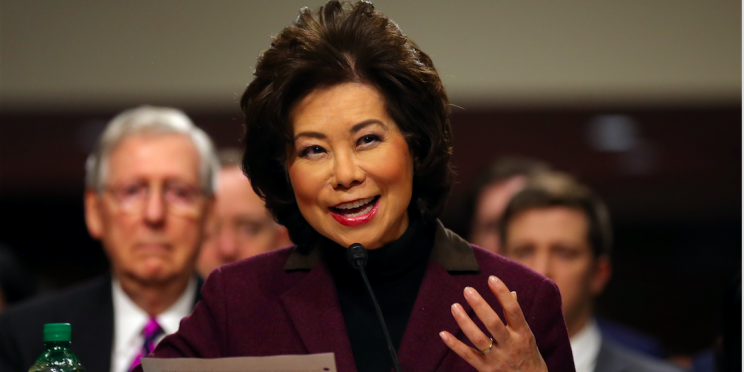 Elaine Chao testifies before a Senate Commerce Science and Transportation Committee confirmation hearing on her nomination to be transportation secretary on Capitol Hill in Washington, U.S., January 11, 2017. REUTERS/Carlos Barria