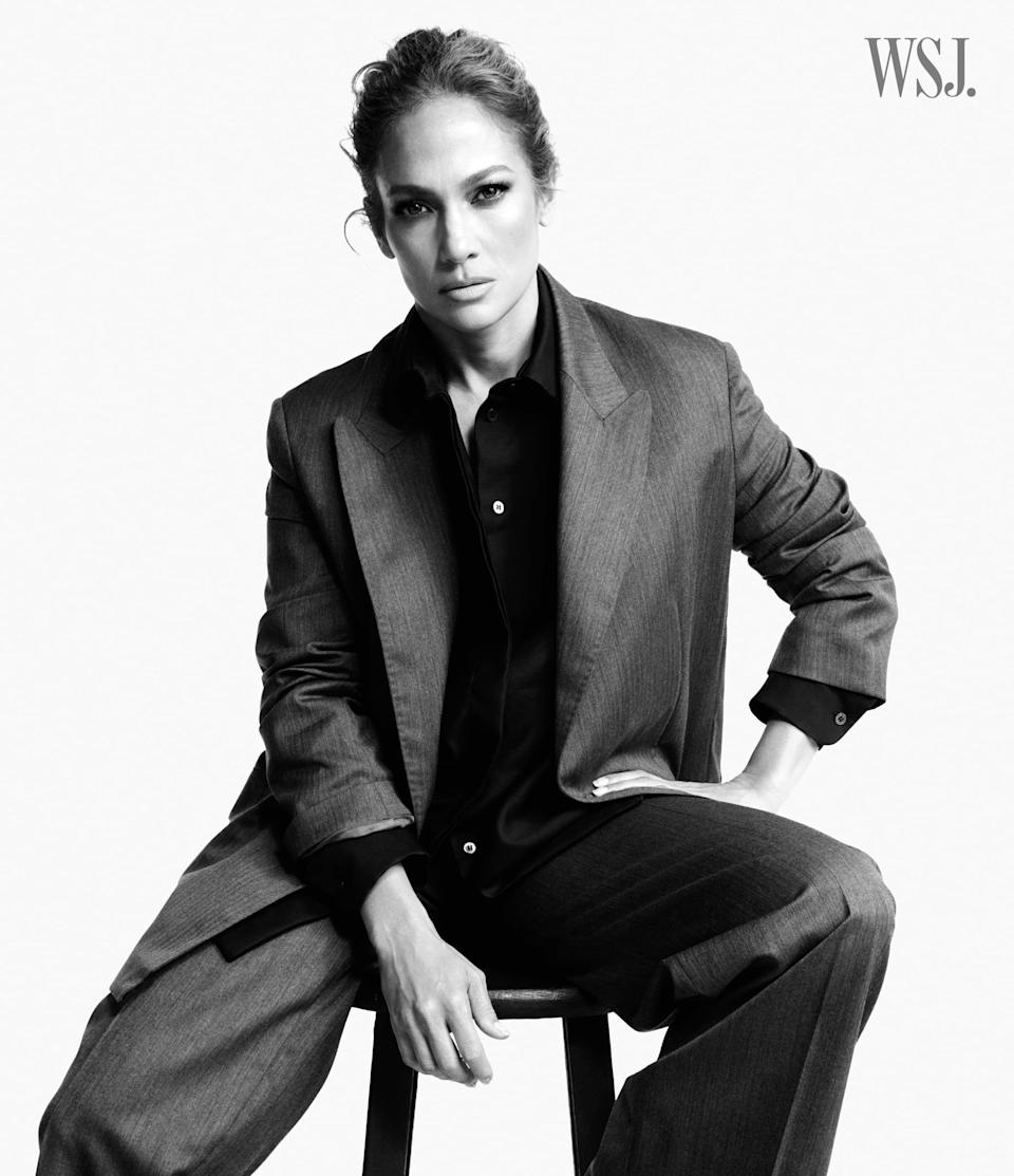 <p>Wearing a jacket, shirt, and pants from The Row.</p>