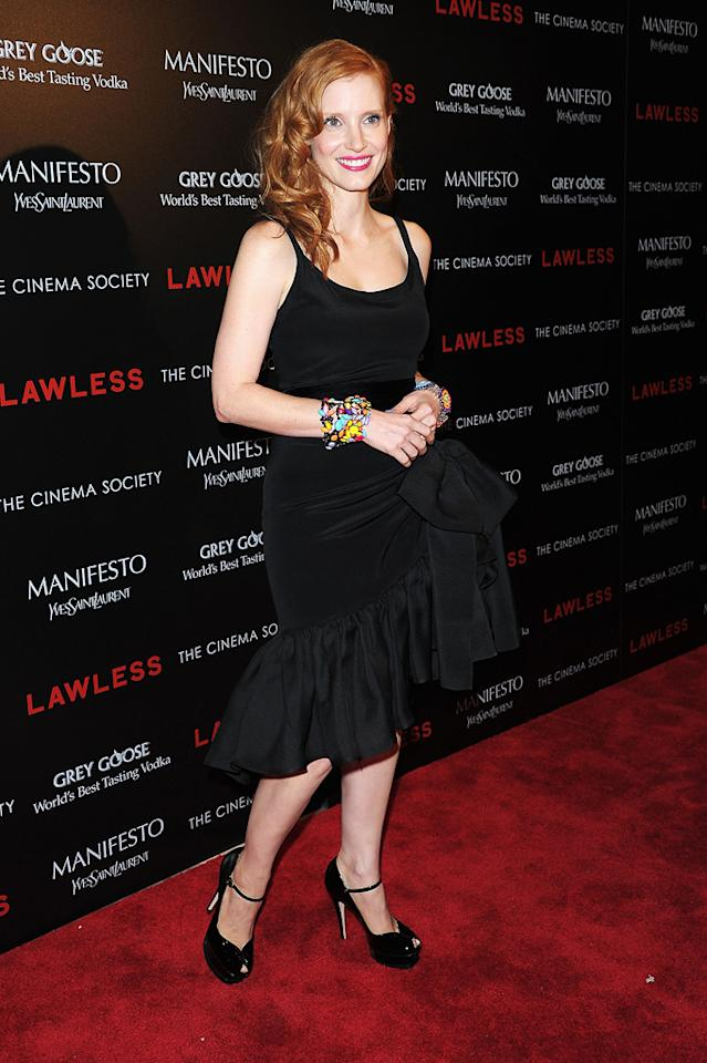 """Jessica Chastain at the New York Cinema Society screening of 'Lawless"""" on August 13, 2012."""