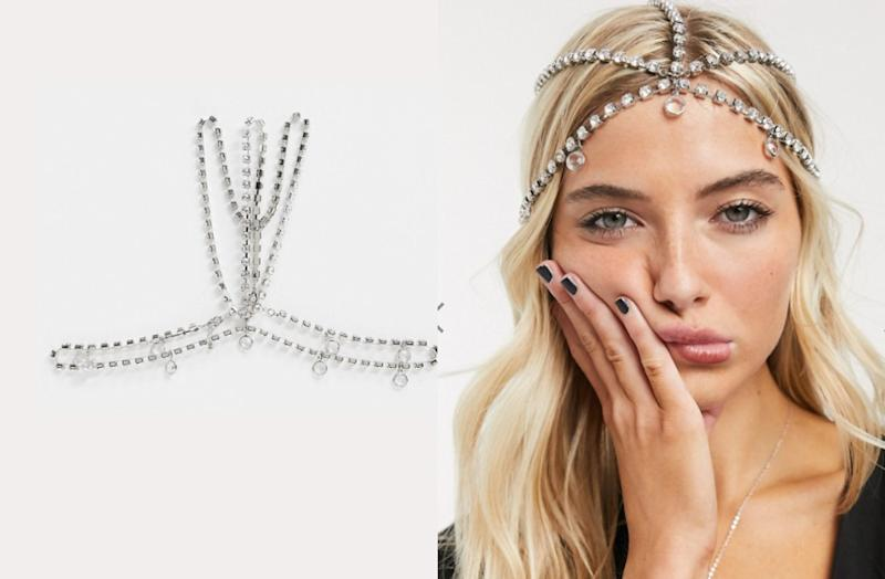 ASOS DESIGN head chain in crystal with jewel drops