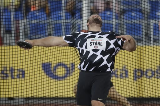 Daniel Stahl of Sweden competes in discus throw at the Golden Spike athletic meeting in Ostrava, Czech Republic, Tuesday, Sept. 8, 2020. (AP Photo/Petr David Josek)