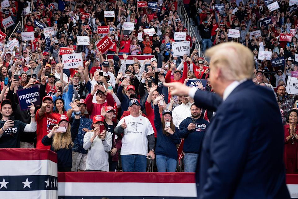 President Donald Trump arrives at a rally at Bojangles' Coliseum on March 2, 2020, in Charlotte, North Carolina. (Photo: BRENDAN SMIALOWSKI via Getty Images)