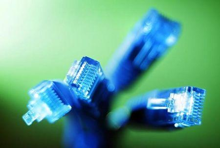 Internet LAN cables are pictured in this photo illustration taken in Sydney