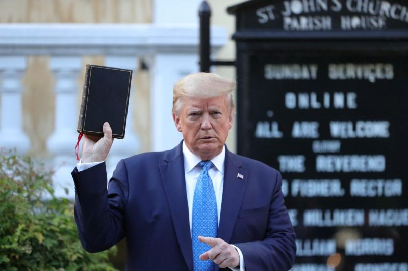 U.S. President Trump holds photo opportunity in front of St John's Church in Washington