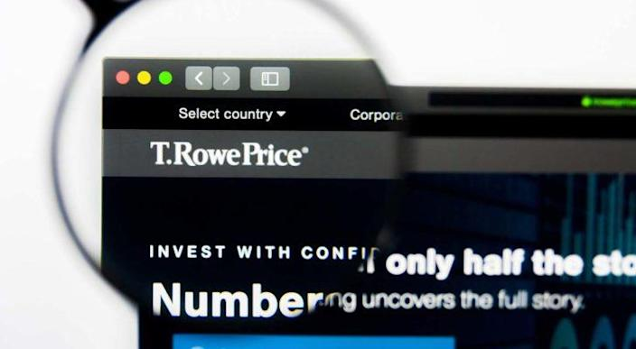 T row price (TROW) logo magnified through a lens while displayed on a web browser