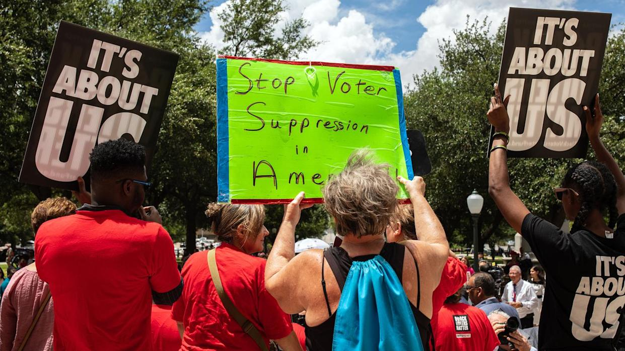 Demonstrators are gathered outside of the Texas State Capitol during a voting rights rally on the first day of the 87th Legislature's special session on July 8, 2021 in Austin, Texas. (Tamir Kalifa/Getty Images)