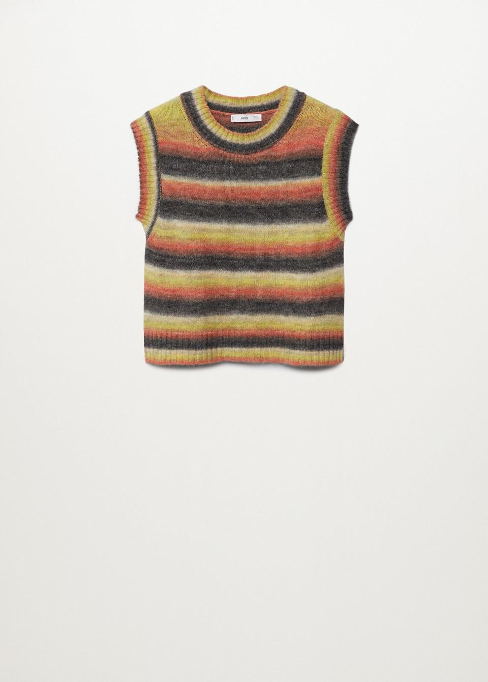 <p>This '70s-inspired <span>Mango Multicoloured Knitted Vest</span> ($25, originally $50) is the definition of versatile. Layer it over a T-shirt, a turtleneck, or a collared shirt à la Kendall Jenner.</p>