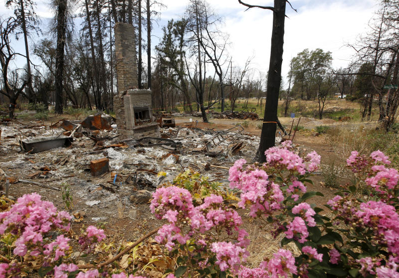 FILE - In this Aug. 21, 2019, file photo, flowers brighten the burned out remains of a home destroyed by the previous year's Camp Fire, in Paradise, Calif. Pacific Gas & Electric has agreed to extend by two months the deadline to file claims against the company for damages suffered from a series of wildfires in California. (AP Photo/Rich Pedroncelli, File)