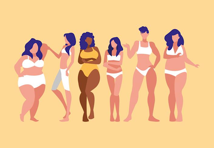 women of different sizes and races modeling : illustration design