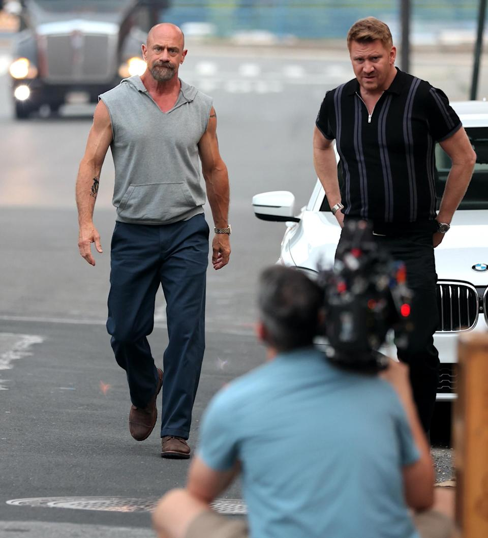 <p>Christopher Meloni and Dash Mihok are seen filming <em>Law and Order: Organized Crime</em> in downtown Manhattan on July 20 in N.Y.C.</p>