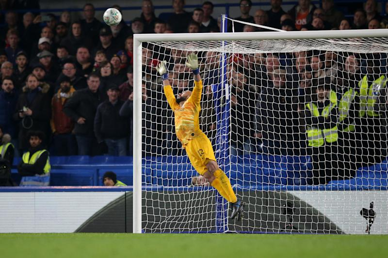 LONDON, ENGLAND - OCTOBER 30: Willy Caballero of Chelsea is beaten by Marcus Rashford of Manchester United free-kick to make it 2-1 during the Carabao Cup Round of 16 match between Chelsea FC and Manchester United at Stamford Bridge on October 30, 2019 in London, England. (Photo by Robin Jones/Getty Images)