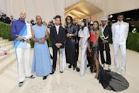 Formula 1 driver Lewis Hamilton bought a table and invited three emerging designers to the Met in an effort to highlight underrepresented Black designers. Among them was Kenneth Nicholson, which he chose to wear.