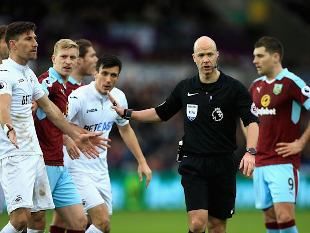 Anthony Taylor has regrets over his decision to award Burnley a penalty against Swansea: Getty
