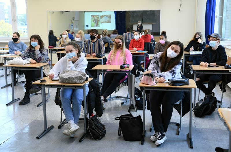FILE PHOTO: School resumes in Berlin after autumn holidays during the spread of COVID-19
