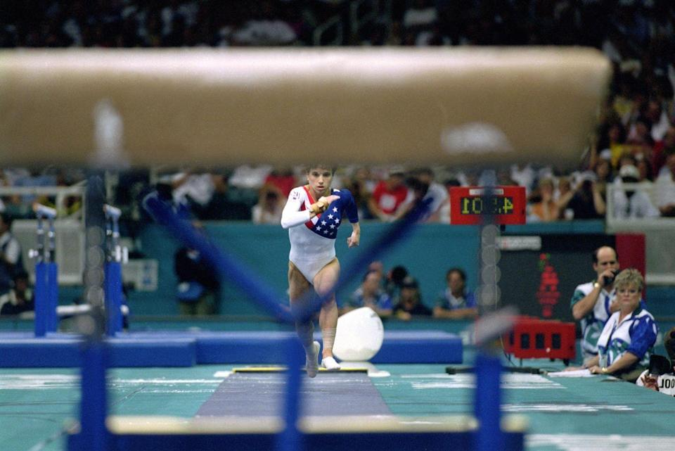 <p>U.S. gymnast Kerri Strug was the only thing that stood between the Soviets and taking home the gold in '96, so she had to nail her vault. But she tore ligaments in her ankle in her first attempt. </p>