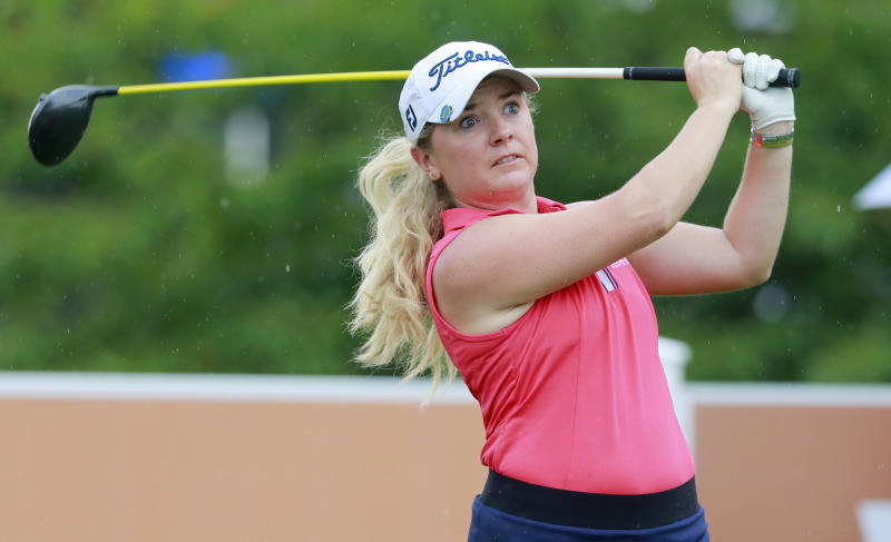 Bronte Law, of England, hits her tee shot from the ninth tee during the final round of the Indy Women in Tech Championship golf tournament, Sunday, Sept. 29, 2019, in Indianapolis. (AP Photo/R Brent Smith)