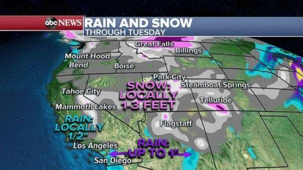 PHOTO: Some of the most organized areas of snow this morning are in parts of Montana and the Rocky mountains where locally up to 3 feet is expected through Tuesday.  (ABC News)