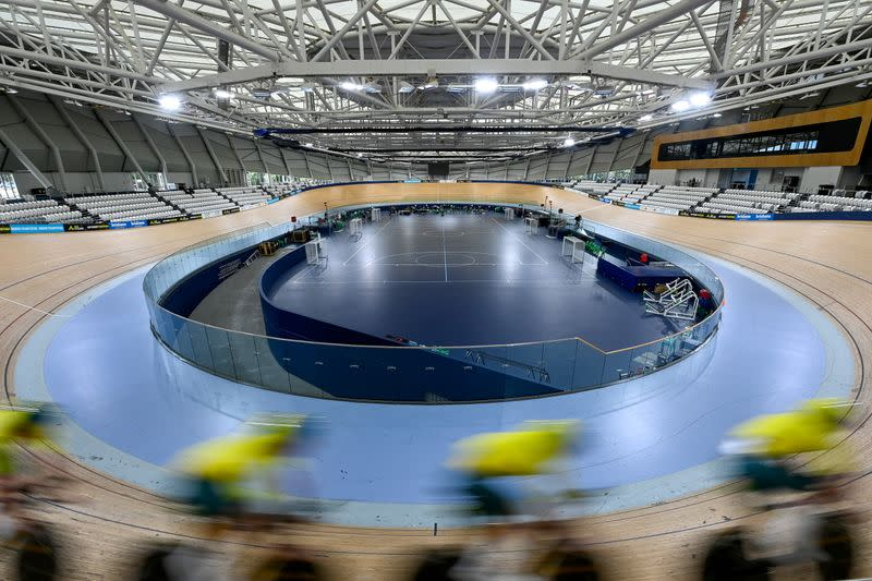 The Australian Olympic Cycling team trains at the Anna Meares Velodrome in Brisbane