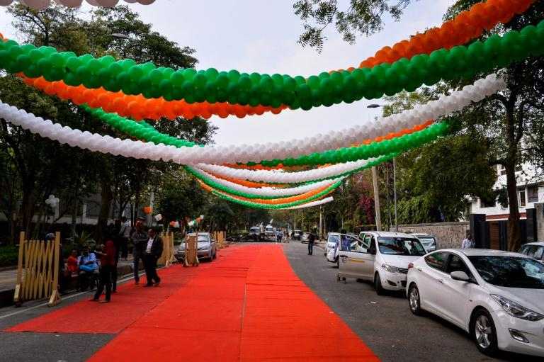 Red carpet and decorative balloons outside the residence of Delhi Chief Minister Arvind Kejriwal