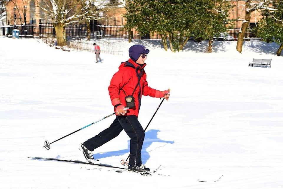 <p>A women skis in a park in Glasgow following heavy snowfall. Fresh heavy snowfalls and icy blizzards were expected to lash Europe Thursday as the region shivers in a deadly deep-freeze that has gripped countries from the far north to the Mediterranean south. (Getty) </p>