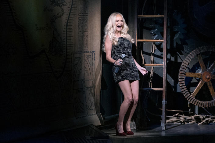 """Actress Kristin Chenoweth gives the curtain speech on the stage of """"Wicked"""" at the Gershwin Theatre Tuesday, Sept. 14, 2021, in New York. The show opened today after being closed due to Covid-19 concerns in early 2020. (AP Photo/Craig Ruttle)"""