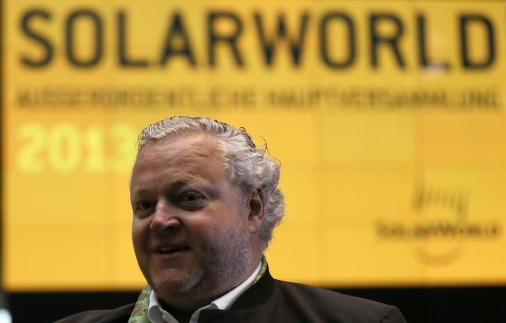 SolarWorld founder and CEO Asbeck is seen before an extraordinary shareholders meeting in Bonn