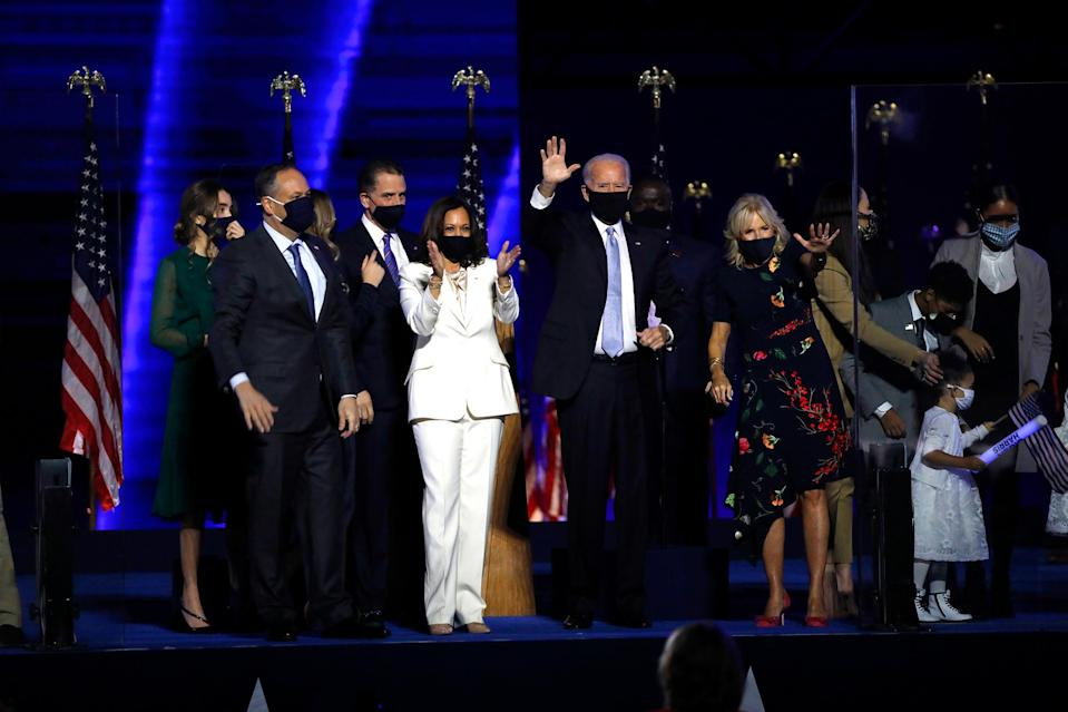 "<p>""To my husband Doug, our children Cole and Ella, my sister Maya, and our whole family — I love you all more than I can express,"" Harris said onstage on Nov. 7, 2020, as she and Joe Biden celebrated their victory. </p>"
