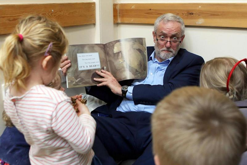Corbyn pulled some interesting faces while reading (PA)