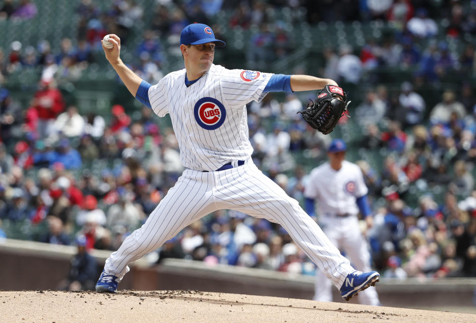 Chicago Cubs starting pitcher Kyle Hendricks delivers against the St. Louis Cardinals during the first inning of a baseball game, Friday, May 3, 2019, in Chicago. (AP Photo/Kamil Krzaczynski)