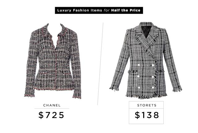 "<p>Chanel Tweed Sash Tie Blazer (Vintage), $725, <a href=""https://www.therealreal.com/products/women/jackets/chanel-tweed-sash-tie-blazer?sid=m9gvbv&utm_source=polyvore&utm_medium=shopping&cvosrc=cse.polyvore.polyvore&utm_source=polyvore&utm_medium=cpc&utm_campaign=Default"" rel=""nofollow noopener"" target=""_blank"" data-ylk=""slk:therealreal.com"" class=""link rapid-noclick-resp"">therealreal.com</a><br>Storets Shauna Tweed Blazer, $138, <a href=""http://www.storets.com/shauna-tweed-jacket-a.html"" rel=""nofollow noopener"" target=""_blank"" data-ylk=""slk:storets.com"" class=""link rapid-noclick-resp"">storets.com</a> </p>"